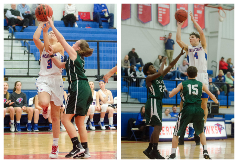 Lilly Arnall, left, and Connor Thompson contributed points to lopsided wins by Heritage over Calvary